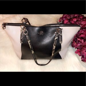 COACH Leather Snake Print Shoulder Bag